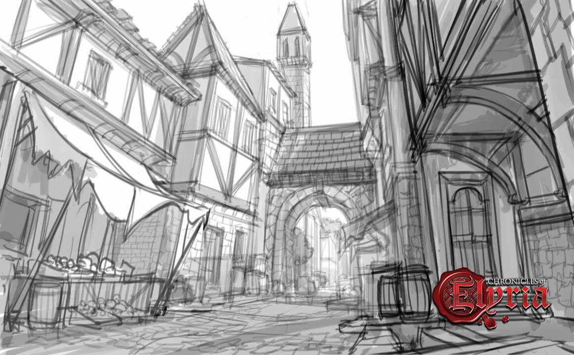 Concept drawing of a town market place.