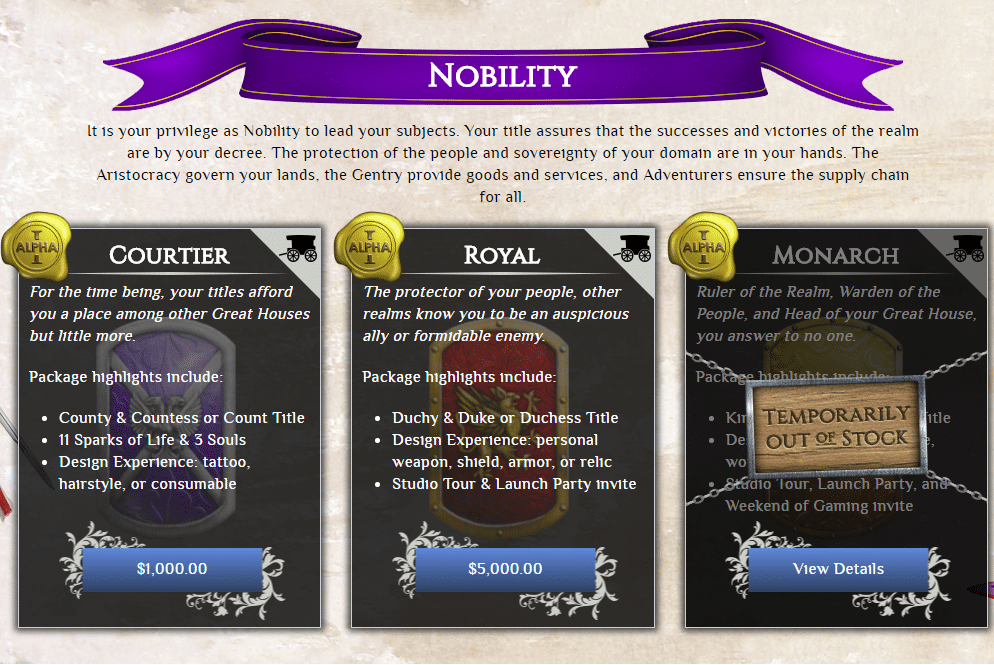 Nobility Pledge Packages