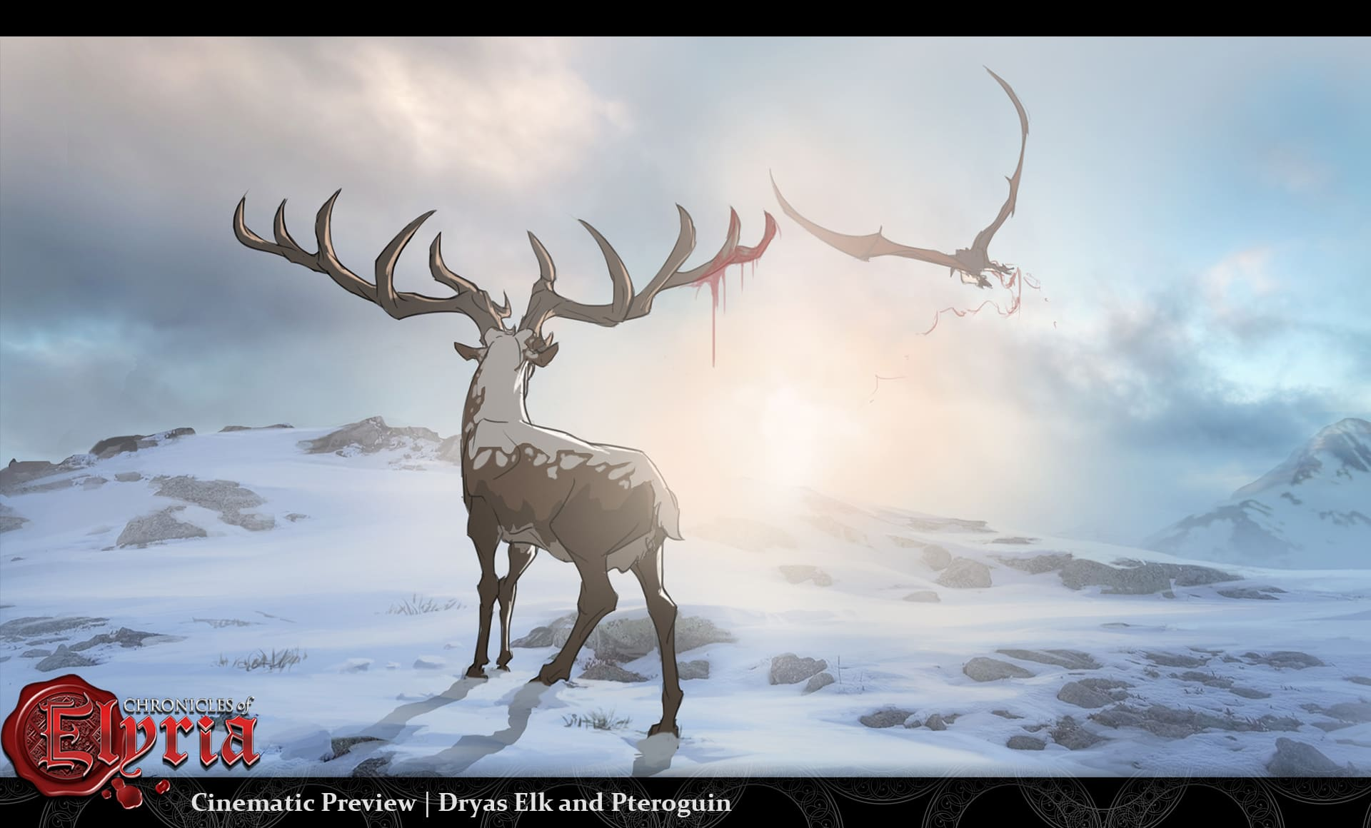Cinematic Preview of a Dryas Elk and a Pteroguin