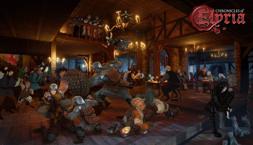 A concept art drawing of a bar fight with multiple tribes.
