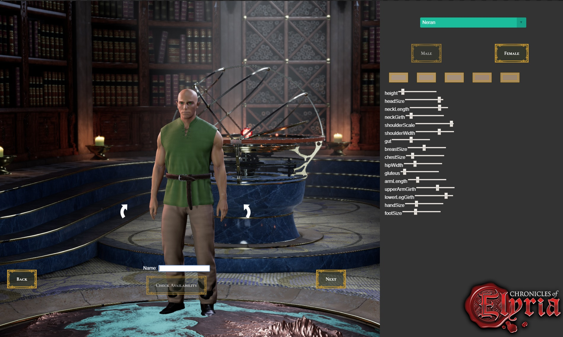 Character Creation Screen 1