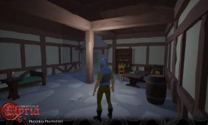 Prelyria screenshot of a player inside a building.