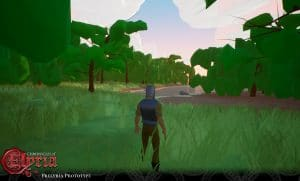Prelyria screenshot of a player near a forest.
