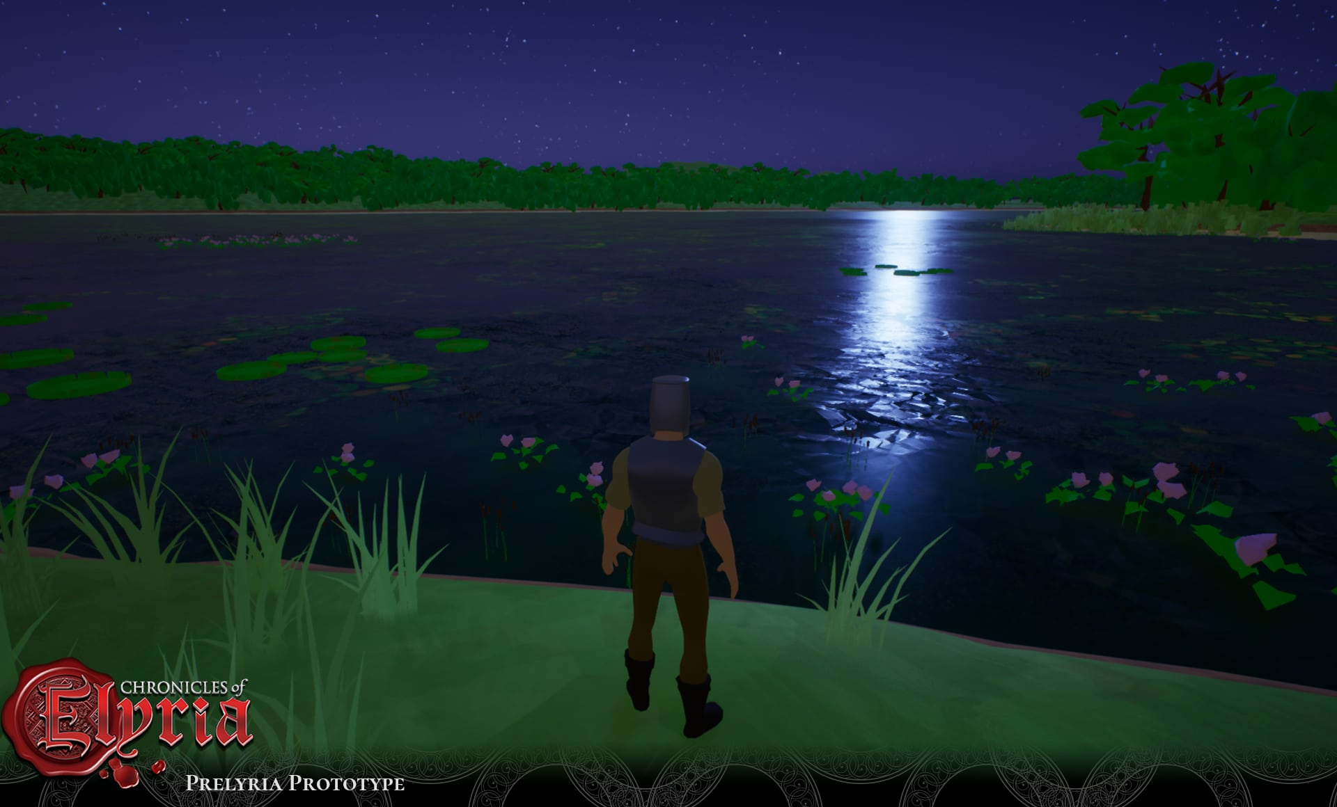 Prelyria screenshot of a player near a lake.
