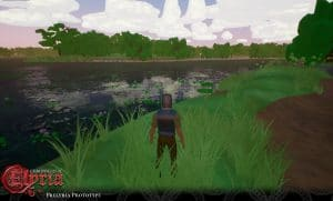 Prelyria screenshot of a player near a river.
