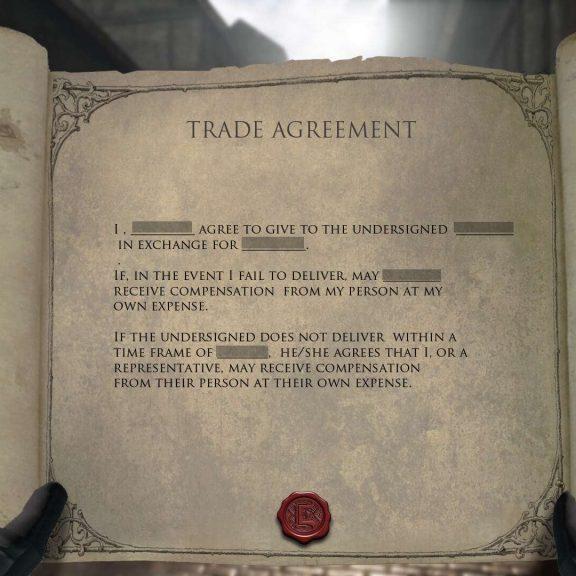A contract trade agreement.
