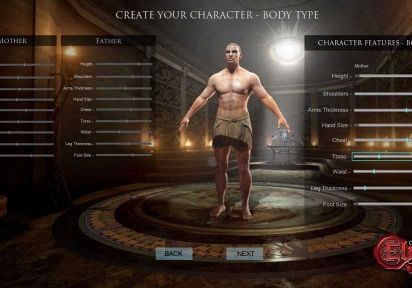 Character creation screen.